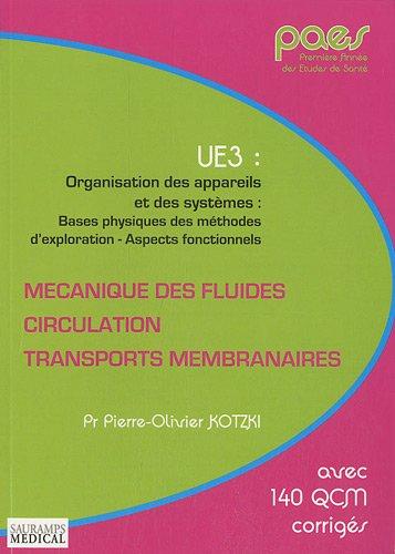 Mécanique des fluides, circulation, transports membranaires : UE3 : Organisation des appareils et des systèmes : bases physiques de sméthodes d'exploration - Aspects fonctionnels