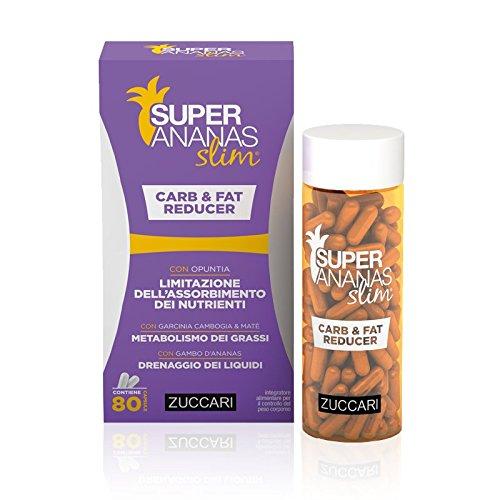 Zuccari linea super ananas slim, carb & fat reducer, integratore alimentare con opuntia, 80 capsule
