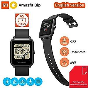 Xiaomi Amazfit Bip Smartwatch Reloj Inteligente 45 Días en Espera Bluetooth con GPS Monitor de Ritmo Cardíaco en Tiempo Real Resistente al Agua Sports Fitness Tracker Ligero 32G IP68 Impermeable Soporte iOS y Android para Niños Hombres Mujeres [Global Versión] (Negro)