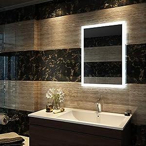 Duschdeluxe Badspiegel Lichtspiegel 50 x 70 cm LED Spiegel Wandspiegel nergieeffizienzklasse A++ mit Beleuchtung kaltweiß Lichtspiegel mit Touchschalter + Anti beschlagfrei