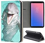 Samsung Galaxy A3 2016 Hülle Smart Flipcover Schutzhülle Case Handyhülle für Samsung Galaxy A3 2016 (511 Delphin Delfin Lustig Blau Grau)