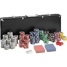 TecTake Maletín de Póker aluminio con 500 fichas láser poker chips | negro | incl. 5 dados + 2 barajas de cartas + 1 ficha de Dealer