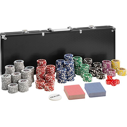 TecTake Pokerkoffer Pokerset mit 500 Pokerchips Laser Chips im Alu Koffer | Schwarz | inkl. 2 Kartendecks + 5 Würfel + 1 Dealer Button