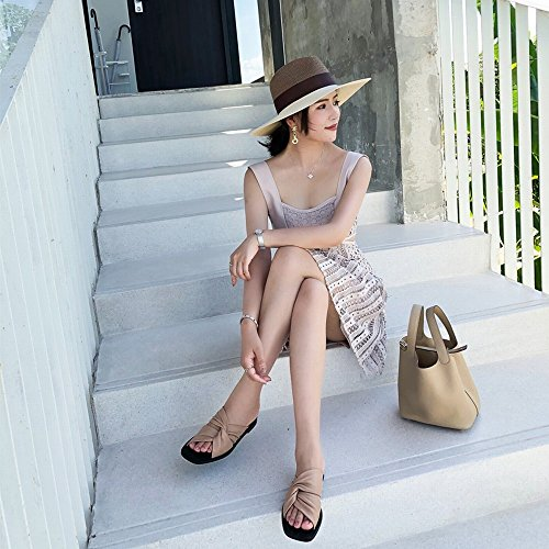 CWJ Sommer Damen Cross-Slip-Sandalen und Hausschuhe,Bare Puder,34 Bare Sandale