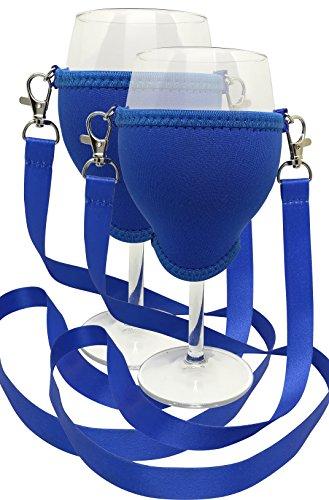 WineHolder Support de verre à vin à porter autour du cou avec tour de cou inclus Lot de 2 - Bleu