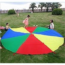 Edealing 1PCS 6.6 Pie Kid Jugar robusta paracaídas Canopy con asas Ejercicio Deportes Juego