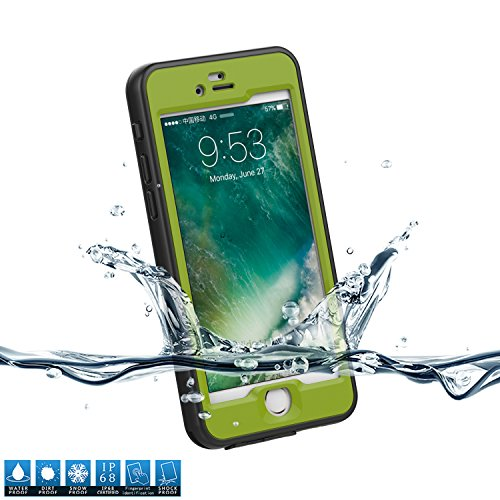 Forhouse iPhone 7 Warerproof Case, Water Resistant case with Screen Protector for iPhone 7, Sport Exercise Running Hiking, Etc Black + Army Green -