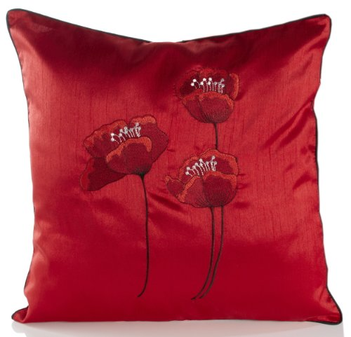 Poppies Red & Black Piped Faux Silk 18