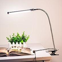 Lixada Lámpara Cuello de Cisne con Interruptor y Pinza USB, LED Lámpara de mesa Escritorio Lectura, Protección para Ojos Ajustable Flexible 6W 18LED