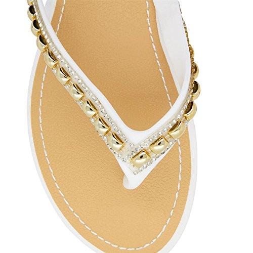 London Footwear - Retro aperto donna Bianco (bianco)