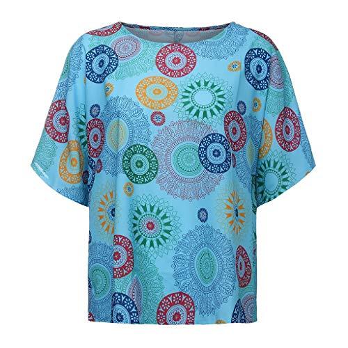 TUDUZ Blusas Mujer O-Cuello Impreso Manga Corta Verano Fit Casual Camisas Camisetas Moda 2019 (Azul, XXXXL)