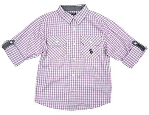 Boys Shirt US Polo Lilac Check Roll Sleeve Shirt Formal Smart