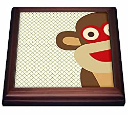 3dRose trv_63511_1 Sock Monkey Peeking Around Corner Cute Animal Art Trivet with Ceramic Tile, 8 x 8, Brown