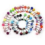 50x Piercing de Ombligo de Vientre Acero Inoxidable Múltiples Colores Joyería