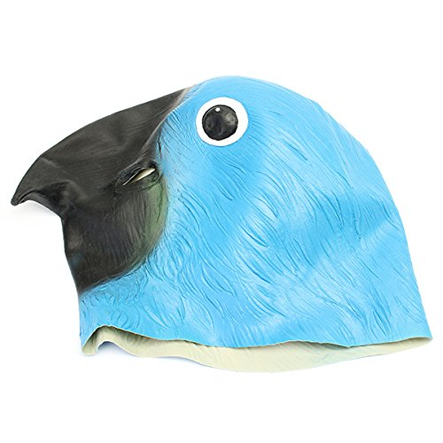 Wooya Blue Parrot Vogel Maske Gruselig Tier Halloween Kostüm Theater Prop Party Cosplay Deluxe Latex Anima