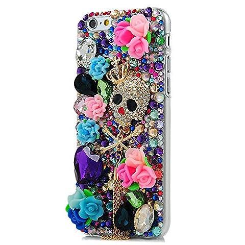 iPhone 8 Plus Hülle, STENES 3D Handgefertigt Diamant Schutz Handy Tasche Kristall Hülle für iPhone 7 Plus / iPhone 8 Plus mit Retro Anti Staub Stecker - Krone Schädel Kette Anhänger Rose Blumen / bunt