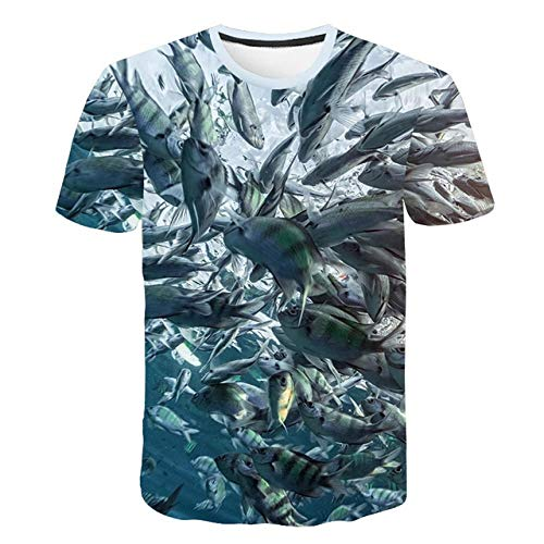 YIMENGF Atmungsaktives T-Shirt Sommer 3D Fisch T-Shirt Herren Street Lustig Lustig Tropischer Fisch Anzug Lässig M-5XL -