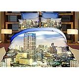200x220 cm 3D Microfaser Bettwäsche Bettbezüge Bettwäschegarnituren 4tlg mit dem Bettlaken 200x225 schöne Farben und Muster Metropole Ausblick auf die Stadt Pop Art FSH310