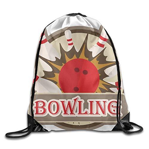 Etryrt Prämie Turnbeutel,Sporttaschen, Bowling Sport Sign Unisex Outdoor Rucksack Shoulder Bag Travel Drawstring Backpack Bag