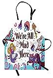 Alice im Wunderland-Schutzblech, wir sind alle hier wütend Zitat mit weißer Kaninchen-Cheshire-Katze Raupe, Unisexküchen-Latzschürze mit justierbarem Hals für das Kochen Backen-Gartenarbeit, Mehrfarbe