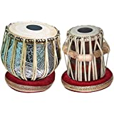 Amaze Musicals Tabla Set, 3 Kilograms Designer Chromed Copper Bayan, Sheesham Dayan Tabla, Professional Tabla Drums, Padded Bag, Hammer, Cushions, Cover, Indian Hand Drums (5.25 inch E# scale tabla)