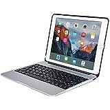 Funda con teclado Apple iPad Air 2 / Pro 9.7, [NUEVA] COOPER KAI SKEL A1 Carcasa de aluminio, teclado inalámbrico Bluetooth retroiluminado Macbook, batería recargable Apple iPad Air 2 / Pro 9.7 pulgadas Plata