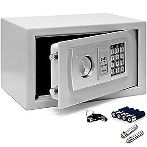 Deuba Tresor | Elektronik Zahlenschloss | 31x20x20cm | LED | Doppelstahlbolzen | Montagematerial | Safe Möbeltresor Silber