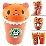 Solike Squishy Spielzeug, Kaffeetasse Katze Kawaii Creme duftenden Squishy Charms Stress Relief Squeeze Spielzeug Toys (Kaffee)