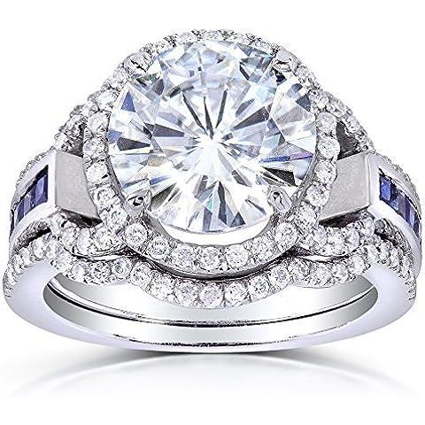 Taglio rotondo, con zaffiri e diamanti da Moissanite & Set 4 1/10 k (ctw) in oro bianco 14 k (3 pezzi) - Moissanite Diamante Zaffiro