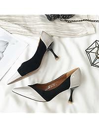 4992f8e3 MDRW-Lady/Elegante/Trabajo/Ocio/Muelle Señora Charol Cosido Boca  Superficial 7Cm Señaló High-Heeled Zapatos Zapatos De…