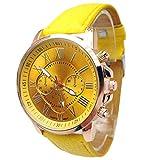 Damen Uhren,Kimdera Damen Quarts Uhr Mode analog Legierung Armbanduhr geschäft beiläufig Bralette Geschenk, rundes zifferblatt Luxus Leder Uhren (gelb)