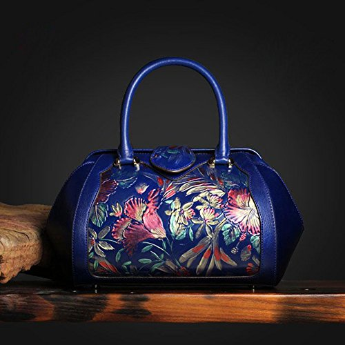 Leathario Borsa di Vera Pelle da Donna Mano Spalla Classico Vintage Estate Elegante Dipinta Lussuosa blu