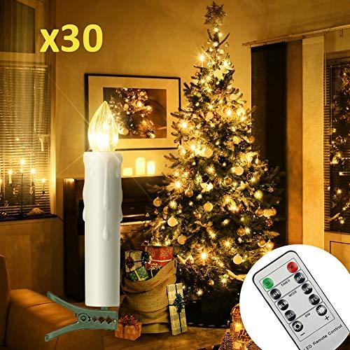 30er LED Kerzen Timer mit Fernbedienung, Weihnachtskerzen, IP64 Dimmbar Kerzenlichter Flammenlose Weihnachtskerzen für Weihnachtsbaum, Weihnachtsdeko, Hochzeit, Geburtstags, Party