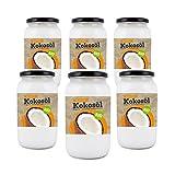 Bio4Fit Bio Kokosöl, nativ, kaltgepresst und naturrein (6 x 1000 ml) Glas