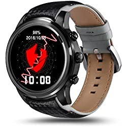 samLIKE 丨 lemfo lem51+ 8G Smart Watch 丨 Teléfono Cover-Mate 丨 Podómetro ✚ Detección de frecuencia Cardíaca 丨 con Ranura de Tarjeta SIM 丨 GPS de posicionamiento 丨 210mm x 21mm, ⭐️ Schwarz