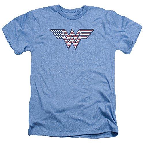 Trevco Men's Dc Wonderwoman Flag Logo Heathered Adult T-Shirt
