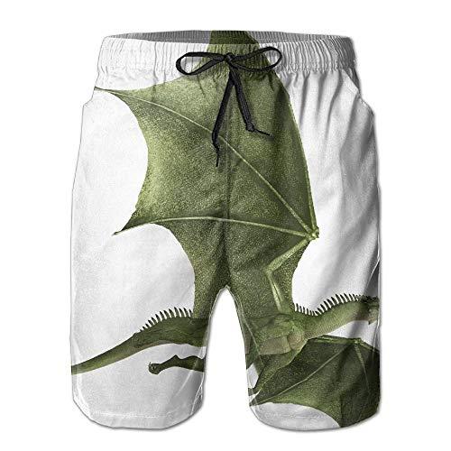 Dragon Männer/Jungen Casual Badehose Kurze Strandhose mit elastischer Taille und Taschen,M