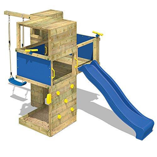WICKEY Spielturm Smart Cube Kletterturm in modernem Design Spielhaus Holz Garten mit Schaukel, Rutsche, Kletterwand, Sandkasten und Holzdach, blaue Rutsche + blaue Plane