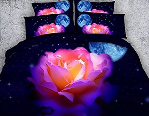 Alicemall 3D Vivid Rose Duvet Cover 3D bedding set 3D Rose Effect Quilt Bedding Sets with Pillow Cases 50% Cotton and 50% Tencel 4-Piece Bedding Sets/Duvet Cover Sets (twin, Moon