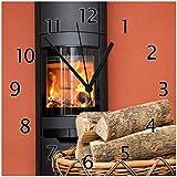 Wallario Glas-Uhr Echtglas Wanduhr Motivuhr • in Premium-Qualität • Größe: 30x30cm • Motiv: Kamin Romantik