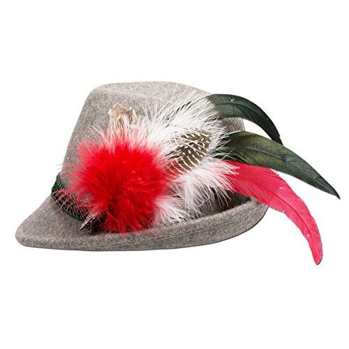 Alpenflüstern Damen Filzhut Trachtenhut grau mit Hutfeder Farbenfroh ADV07200M20 rot