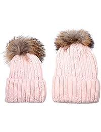 Butterme 2 pezzi Madre e bambino Crochet cappello a maglia cappotto caldo  invernale-bambino invernale cffe10b860a2