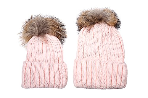 iKulilky 2PCS Parent-child Hat Winter Warm Knit Real Fur Pom Pom Beanie Slouchy Skull Ski Bobble Cap (Slouchy Manschette)