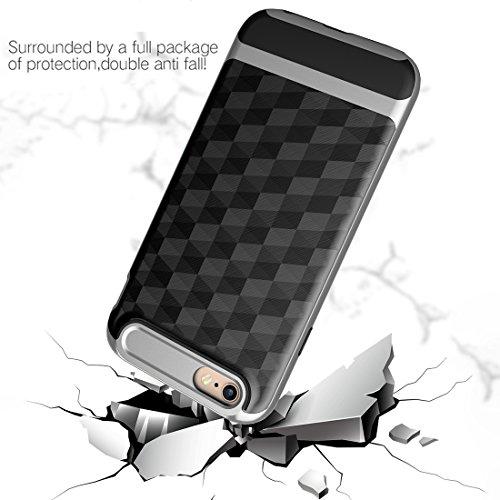 """iPhone 6s Plus Hülle, HICASER Dual Layer Case Shock Proof Prism Textur TPU +PC Bumper Handytasche Schutzhülle für iPhone 6 Plus / 6s Plus 5.5"""" Schwarz Schwarz / Silber"""