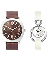 SVM VL46VT15 New Couple Combo Designer Stylish Leather & Plastic Belt Analog Watch For Men & Women