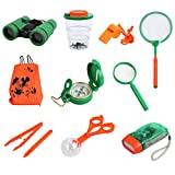 Kinder Outdoor Exploration Kit Spielzeug für Kinder mit Fernglas Taschenlampe Kompass Pfeife Lupe Rucksack Pinzette Schmetterlingsnetz Beobachtung Box Zuchtbox