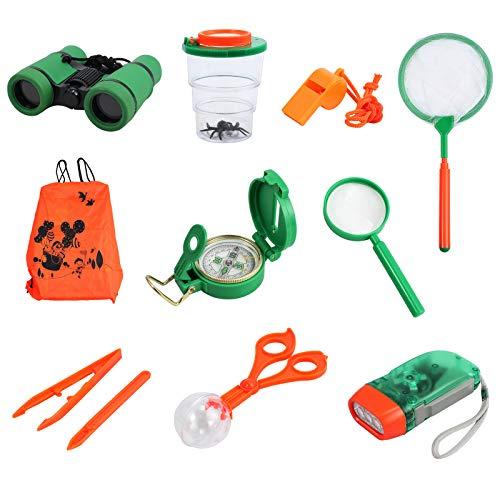 Kinder Outdoor Exploration Kit Spielzeug für Kinder mit Fernglas Taschenlampe Kompass Pfeife Lupe...