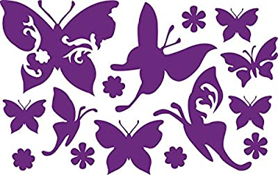 Butterfly Set Purple 20 cm High Quality UV Resistant Sticker for Car, Wall, Laptop, Tiles, Bath, Bathroom, Toilet, and all smooth surfaces High-Quality Film without Back, Hibuskus, Hibiscus, Flower, Ornament, Flower, Blossom, Ornament, Hibiscus Flower, Ha
