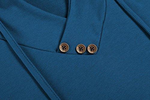 Damen Langarm Hoodie, Pagacat Frauen V-Ausschnitt Sweatshirt Kapuzenpullover mit Kapuze und verstellbarem Tunnelzug Mehrfarben M-XXL Dunkelgrün