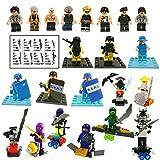 Gargoyle WSN-2002 - 22 Mini-Figuren - Baustein Mini-Set mit Zubehör - Militär - Polizei - Räuber - Ninja Toy Playset